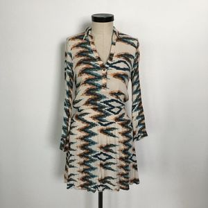 Reina Diaz Dress Boho Chevron Print Size S/M